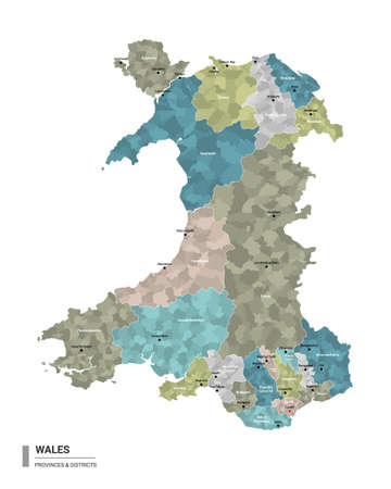 Wales higt detailed map with subdivisions. Administrative map of Wales with districts and cities name, colored by states and administrative districts. Vector illustration.