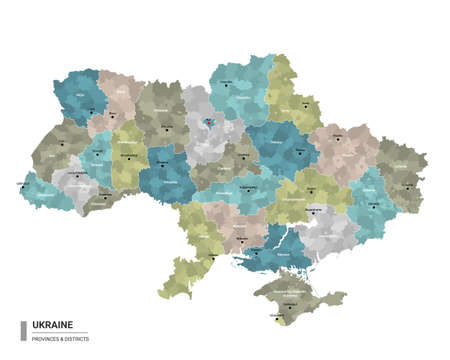 Ukraine higt detailed map with subdivisions. Administrative map of Ukraine with districts and cities name, colored by states and administrative districts. Vector illustration.