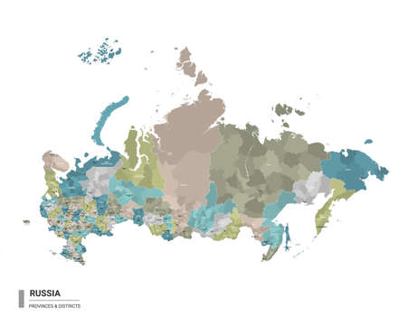 Russia higt detailed map with subdivisions. Administrative map of Russia with districts and cities name, colored by states and administrative districts. Vector illustration.