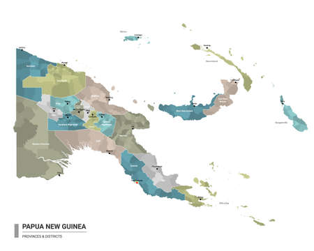 Papua New Guinea higt detailed map with subdivisions. Administrative map of Papua New Guinea with districts and cities name, colored by states and administrative districts. Vector illustration.