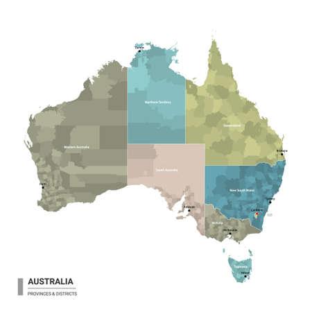 Australia higt detailed map with subdivisions. Administrative map of Australia with districts and cities name, colored by states and administrative districts. Vector illustration. 向量圖像