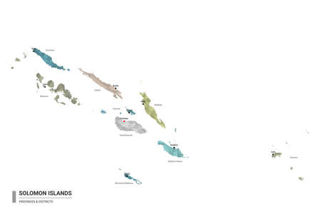 Solomon Islands higt detailed map with subdivisions. Administrative map of Solomon Islands with districts and cities name, colored by states and administrative districts. Vector illustration.
