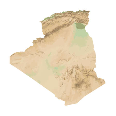 Relief map of Algeria. Color physical map. Vector illustration.