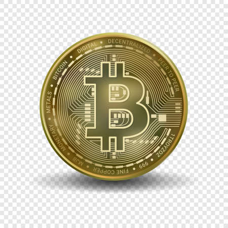 Bitcoin money isolated on transparent background. Golden bitcoin coin blockchain technology for crypto currency. Realistic 3d vector illustration.