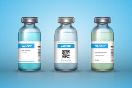 Set of medical vaccine bottles on backround. Mockup vaccine - transparent glass. Protection coronavirus and infection. Realistic 3d vector illustration.