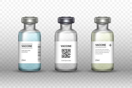 Set of medical vaccine bottles on transparent backround. Mockup vaccine - transparent glass. Protection coronavirus and infection. Realistic 3d vector illustration.