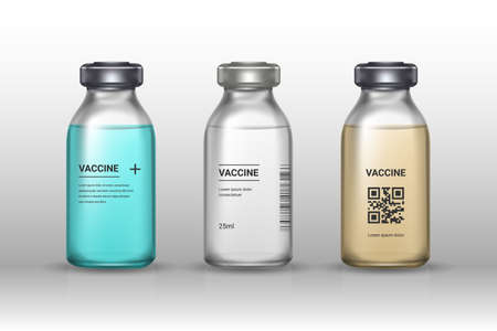 Set of medical vaccine bottles on gray backround. Mockup vaccine - transparent glass. Protection coronavirus and infection. Realistic 3d vector illustration.