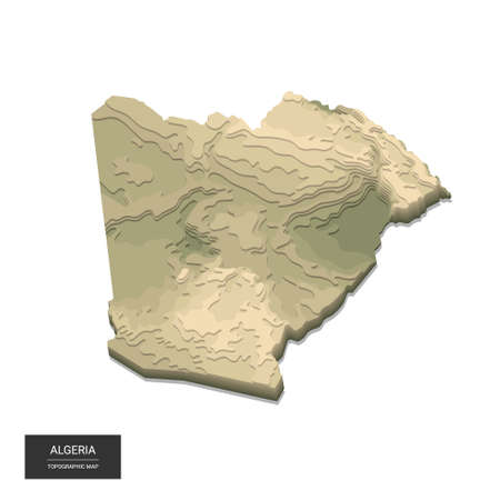 Algeria map - 3D digital high-altitude topographic map. 3D vector illustration. Colored relief, rugged terrain. Cartography and topology. Ilustrace