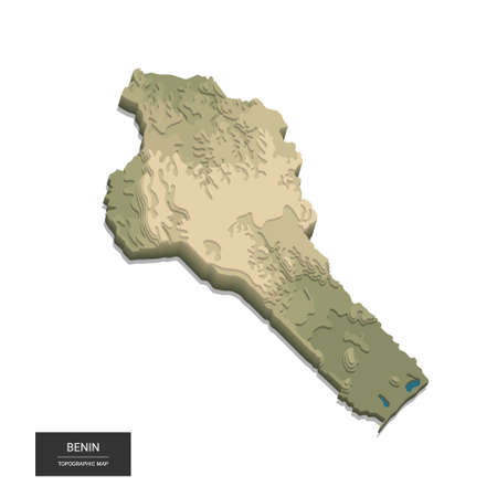 Benin map - 3D digital high-altitude topographic map. 3D vector illustration. Colored relief, rugged terrain. Cartography and topology. 向量圖像