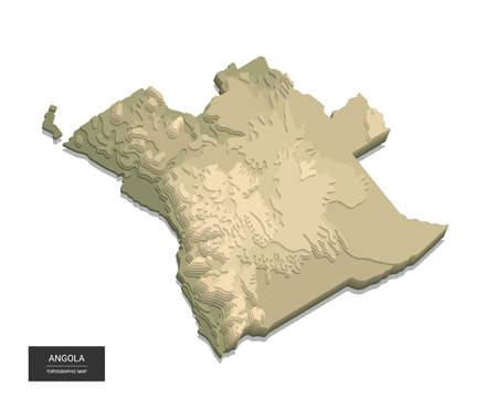 Angola map - 3D digital high-altitude topographic map. 3D vector illustration. Colored relief, rugged terrain. Cartography and topology.