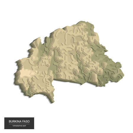 Burkina Faso map - 3D digital high-altitude topographic map. 3D vector illustration. Colored relief, rugged terrain. Cartography and topology. 向量圖像