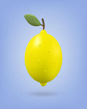 Yellow lemon fruit with leaf on background. Icon 3d vector illustration. Render style.