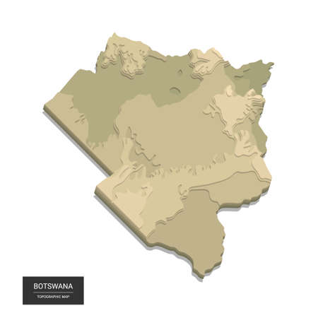 Botswana map - 3D digital high-altitude topographic map. 3D vector illustration. Colored relief, rugged terrain. Cartography and topology.