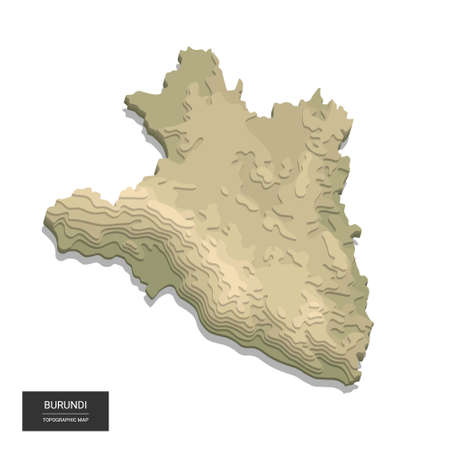 Burundi map - 3D digital high-altitude topographic map. 3D vector illustration. Colored relief, rugged terrain. Cartography and topology. Ilustrace