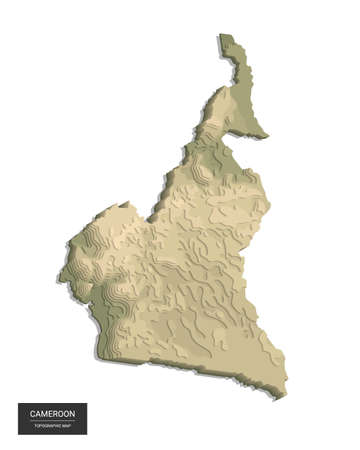 Cameroon map - 3D digital high-altitude topographic map. 3D vector illustration. Colored relief, rugged terrain. Cartography and topology. 向量圖像