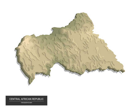 Central African Republic map - 3D digital high-altitude topographic map. 3D vector illustration. Colored relief, rugged terrain. Cartography and topology.