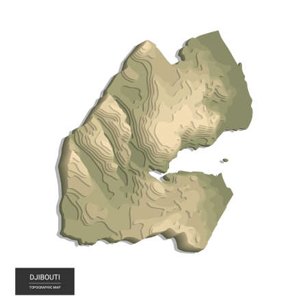 Djibouti map - 3D digital high-altitude topographic map. 3D vector illustration. Colored relief, rugged terrain. Cartography and topology.