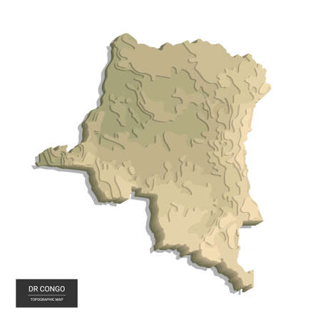 DR Congo map - 3D digital high-altitude topographic map. 3D vector illustration. Colored relief, rugged terrain. Cartography and topology.