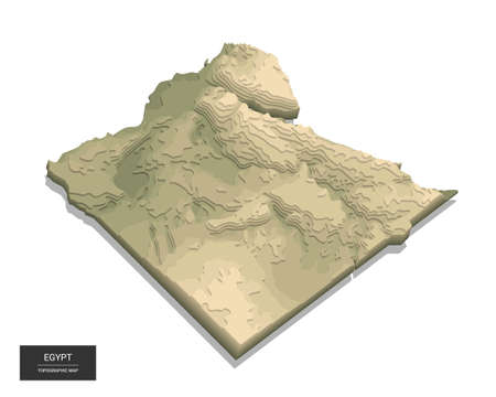 Egypt map - 3D digital high-altitude topographic map. 3D vector illustration. Colored relief, rugged terrain. Cartography and topology. Ilustrace
