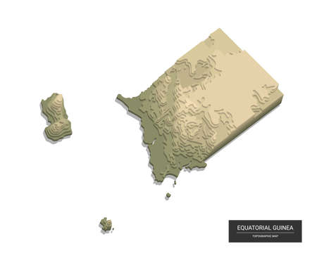 Equatorial Guinea map - 3D digital high-altitude topographic map. 3D vector illustration. Colored relief, rugged terrain. Cartography and topology. 向量圖像