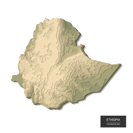 Ethiopia map - 3D digital high-altitude topographic map. 3D vector illustration. Colored relief, rugged terrain. Cartography and topology. Ilustrace