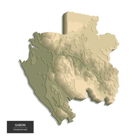 Gabon map - 3D digital high-altitude topographic map. 3D vector illustration. Colored relief, rugged terrain. Cartography and topology.