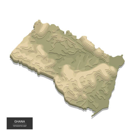 Ghana map - 3D digital high-altitude topographic map. 3D vector illustration. Colored relief, rugged terrain. Cartography and topology.