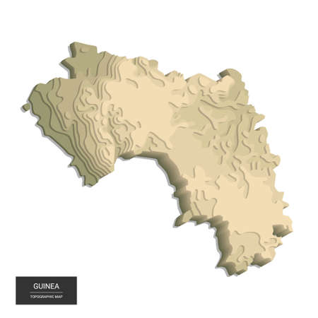 Guinea map - 3D digital high-altitude topographic map. 3D vector illustration. Colored relief, rugged terrain. Cartography and topology.