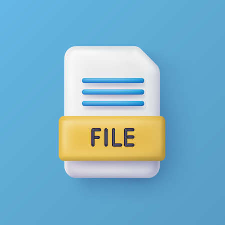 File or document 3d vector icon on background. Ilustrace