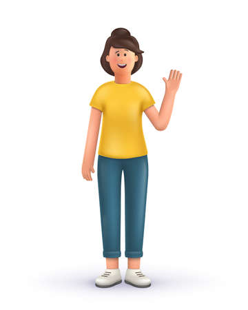3D cartoon character. Young woman greeting gesture, standing on a white background, say hello. Smiling cute brunette girl. 3d vector illustration.