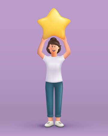 3D cartoon character. Young woman holding star. Customer review rating and client feedback concept. Smiling cute brunette girl. 3d vector illustration.