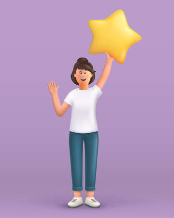 3D cartoon character. Young woman waving hand saying hi and holding a big star. Customer review rating and client feedback concept. Smiling cute brunette girl. 3d vector illustration.