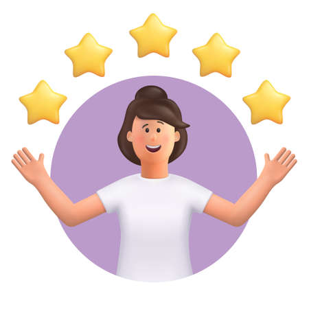 3D cartoon character. Young woman points to the stars, good review. Customer review rating and client feedback concept. Smiling cute brunette girl. 3d vector illustration.