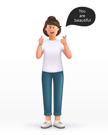 3D cartoon character. Young woman showing thumb up in approval and pointing her finger to you, making compliment, like product, guarantee quality. Good job, nice work gesture. Smiling cute brunette girl. 3d vector illustration.