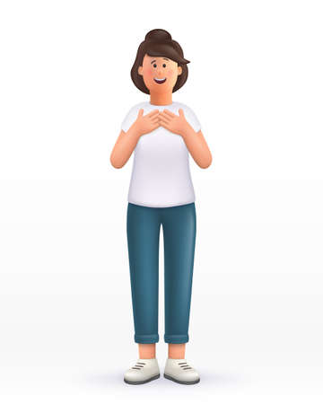 3D cartoon character. Young woman, keeps hands on chest, touched by compliment, smiles positively. Smiling cute brunette girl. 3d vector illustration.