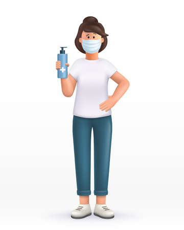 3D cartoon character. Young woman wearing mask, using and showing alcohol antiseptic gel, sanitizer to clean hands and prevent germs, virus infection. 3d vector illustration.