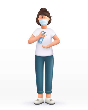 3D cartoon character. Young woman wearing mask, using alcohol antiseptic gel, sanitizer to clean hands and prevent germs, virus infection. 3d vector illustration.