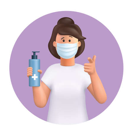 3D vector cartoon character. Young woman wearing mask, using and showing alcohol antiseptic gel, sanitizer to clean hands and prevent germs, virus infection. Pointing her finger to you. Иллюстрация