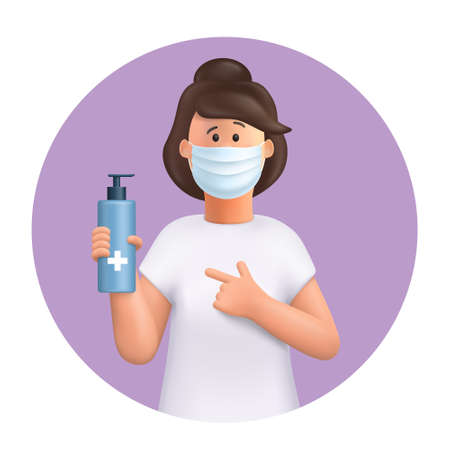 3D vector cartoon character. Young woman wearing mask, using and showing alcohol antiseptic gel, sanitizer to clean hands and prevent germs, virus infection. Иллюстрация