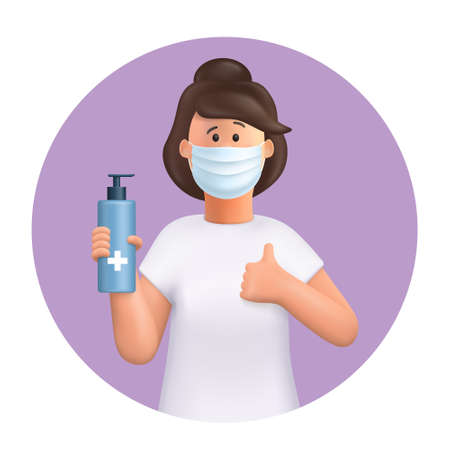 3D vector cartoon character. Young woman wearing mask, using and showing alcohol antiseptic gel, sanitizer to clean hands and prevent germs, virus infection. Making good sign, shows gesture cool. Иллюстрация