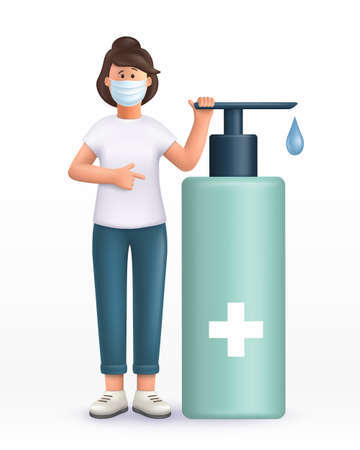 3D vector cartoon character. Young woman wearing mask, standing near big alcohol antiseptic gel, sanitizer to clean hands and prevent germs, virus infection. points at the gel with a finger.
