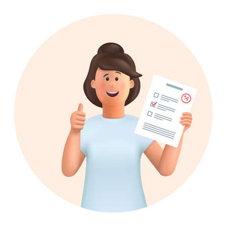 3D cartoon character. Young woman Jane standing with test exam results, education test, questionnaire document showing thumbs up. Education, study, success, like concept.