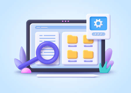 Concept of File management. Searching files in database. Document management soft, document flow app, compound docs concept. 3d vector illustration. Иллюстрация