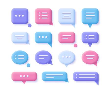 Speech, communication, dialogue bubbles - realistic icon set. 3d vector illustration.
