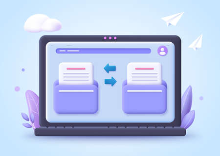 File transfer concept. Two folder with document and files transfering. 3d vector illustration.