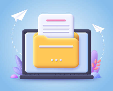 File transfer concept. Yellow folder with document on computer monitor. 3d vector illustration. Иллюстрация