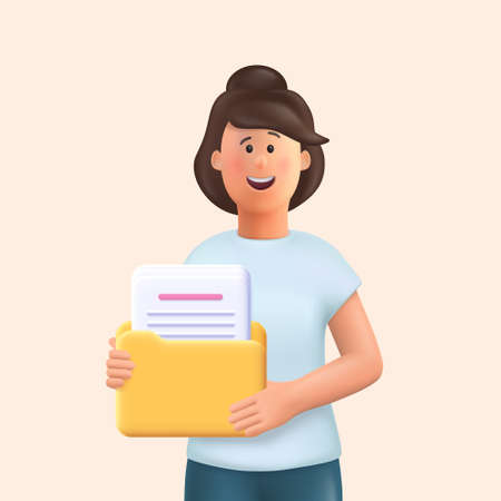 3D cartoon character. Young woman holding a folder with file or documents and smiling. 3d vector illustration. Иллюстрация
