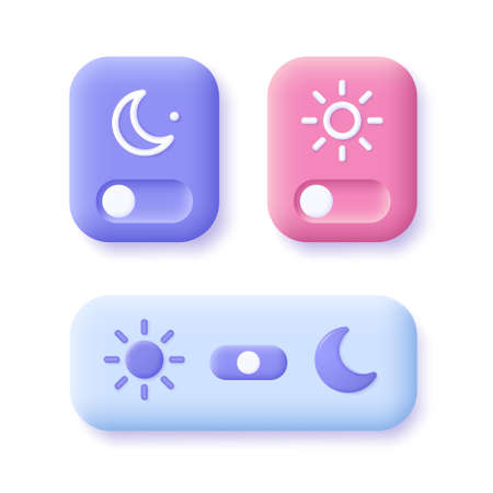 Day and night mode switch icon set. Interface ui symbol concept. On Off or Light and Dark Buttons. 3d vector illustration.