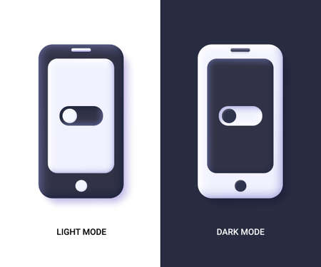 Mobile phones with dark and light Mode switcher for phone screens, tablets and computers. Enable and disable button. 3d vector illustration