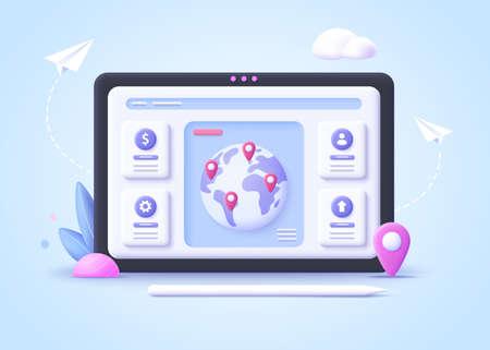 Concept of international business, world business network. Business communication and collaboration, teamwork, partnership.3d vector illustration.